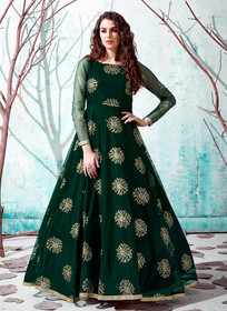 Green color Floor Length Full Sleeves Net Fabric Gown
