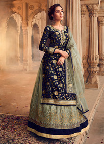 Royal Blue color Pure Dola Jacquard Fabric Full Sleeves Floor Length Indowestern style Suit