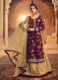 Maroon and Golden color Pure Dola Jacquard Fabric Full Sleeves Floor Length Indowestern style Suit