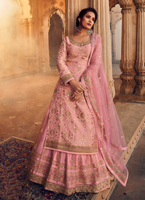Pink color Pure Dola Jacquard Fabric Full Sleeves Floor Length Indowestern style Suit