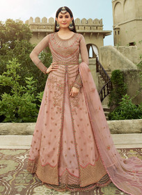 Light Pink color Net Fabric Full Sleeves Floor Length Centre Cut Indowestern style Suit