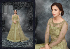 Light Green color Soft Net Fabric Full Sleeves Floor Length Centre Cut Indowestern style Suit