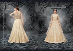 Cream color Soft Net Fabric Full Sleeves Floor Length Centre Cut Indowestern style Suit