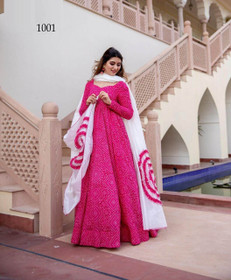 Hot Pink color Pure Muslin Fabric Full Sleeves Floor Length Gown