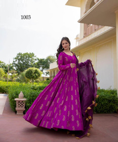 Purple color Pure Muslin Fabric Full Sleeves Floor Length Gown