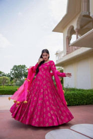 Magenta color Pure Muslin Fabric Full Sleeves Floor Length Gown