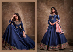 Royal Blue color Silk Fabric Floor Length Embroidery work Gown