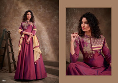 Onion color Silk Fabric Floor Length Embroidery work Gown