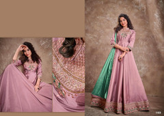 Pinkish Mauve color Silk Fabric Floor Length Embroidery work Ban Neck Design Gown