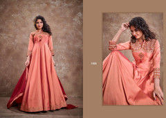 Peach color Silk Fabric Floor Length Embroidery work Ban Neck Design Gown