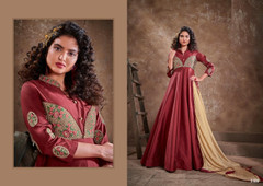 Maroon color Silk Fabric Floor Length Embroidery work Ban Neck Design Gown