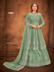 Light Green color Net Fabric Full Sleeves Floor Length Party wear Suit