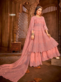 Pinkish Peach color Net Fabric Full Sleeves Floor Length Party wear Suit