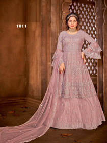 Mauve color Net Fabric Full Sleeves Floor Length Party wear Suit