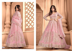 Pink color Embroidered Net Fabric Anarkali style Suit