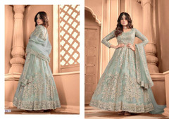 Light Blue color Embroidered Net Fabric Anarkali style Suit