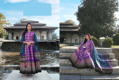 Purple color Ban Neck Design Full Sleeves Ankle Length Silk Fabric Gown