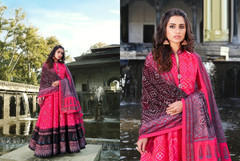 Red color Ban Neck Design Full Sleeves Ankle Length Silk Fabric Gown