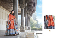 Orange color Ban Neck Design Full Sleeves Ankle Length Silk Fabric Gown