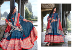 Blue color Ban Neck Design Full Sleeves Ankle Length Silk Fabric Gown