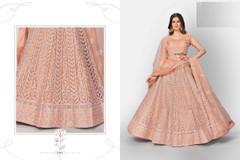 Powder Orange color Soft Net Fabric Heavily Embroidered Lehenga Choli