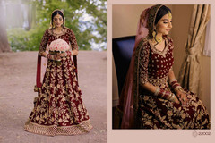 Red color Falcon Velvet Fabric Full Sleeves Floor Length Heavily Embroidered Anarkali style Bridal wear Suit