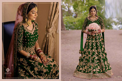 Green color Falcon Velvet Fabric Full Sleeves Floor Length Heavily Embroidered Anarkali style Bridal wear Suit