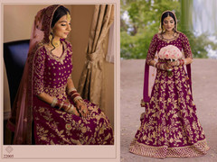 Magenta color Falcon Velvet Fabric Full Sleeves Floor Length Heavily Embroidered Anarkali style Bridal wear Suit