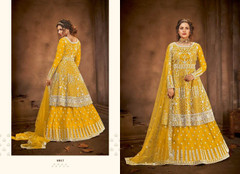 Yellow color Net Fabric Floor Length Full Sleeves Indowestern style Party Wear Suit