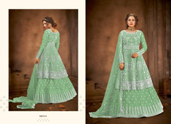 Green color Net Fabric Floor Length Full Sleeves Indowestern style Party Wear Suit