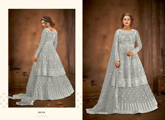 Grey color Net Fabric Floor Length Full Sleeves Indowestern style Party Wear Suit
