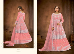 Pink color Net Fabric Floor Length Full Sleeves Indowestern style Party Wear Suit