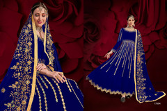 Indigo color Georgette Fabric Full Sleeves Floor Length Anarkali style Party Wear Suit