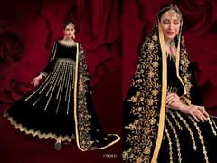 Black color Georgette Fabric Full Sleeves Floor Length Anarkali style Party Wear Suit