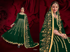 Green color Georgette Fabric Full Sleeves Floor Length Anarkali style Party Wear Suit