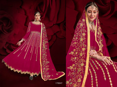 Magenta color Georgette Fabric Full Sleeves Floor Length Anarkali style Party Wear Suit