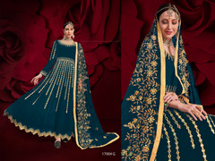 Blue color Georgette Fabric Full Sleeves Floor Length Anarkali style Party Wear Suit
