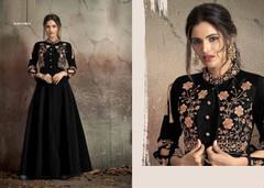 Black color Soft Tapeta Silk Fabric Floor Length Ban Neck Design Gown
