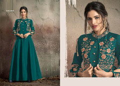 Blue color Soft Tapeta Silk Fabric Floor Length Ban Neck Design Gown