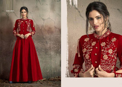 Red color Soft Tapeta Silk Fabric Floor Length Ban Neck Design Gown