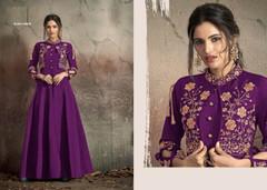 Purple color Soft Tapeta Silk Fabric Floor Length Ban Neck Design Gown
