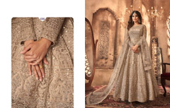 Light Coffee shade Full Sleeves Floor Length Anarkali style Party Wear Suit
