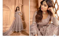 Light Mauve shade Full Sleeves Floor Length Anarkali style Party Wear Suit