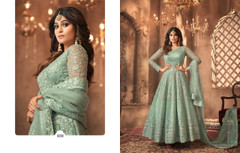 Light Green shade Full Sleeves Floor Length Anarkali style Party Wear Suit