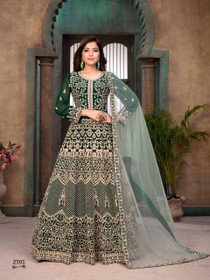 Green color Georgette Fabric Heavily Embroidered Full Sleeves Floor Length Party Wear Anarkali style Suit