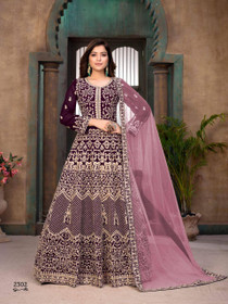 Purple color Georgette Fabric Heavily Embroidered Full Sleeves Floor Length Party Wear Anarkali style Suit