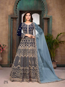 Royal Blue color Georgette Fabric Heavily Embroidered Full Sleeves Floor Length Party Wear Anarkali style Suit
