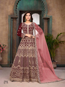 Maroon color Georgette Fabric Heavily Embroidered Full Sleeves Floor Length Party Wear Anarkali style Suit