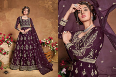 Wine color Full Sleeves Floor Length Heavily Embroidered Net Fabric Anarkali style Suit