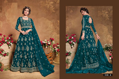Blue color Full Sleeves Floor Length Heavily Embroidered Net Fabric Anarkali style Suit